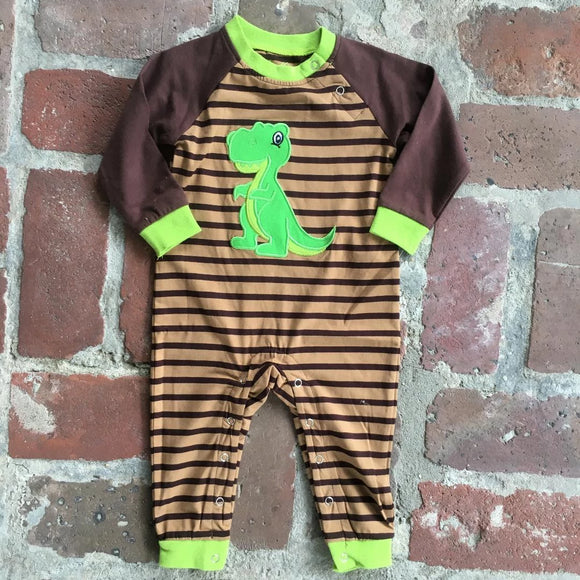 APPLIQUE DINOSAUR BOYS KNIT ROMPER