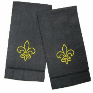 EMBROIDERED GUEST TOWEL BLACK FLEUR DE LIS LINEN