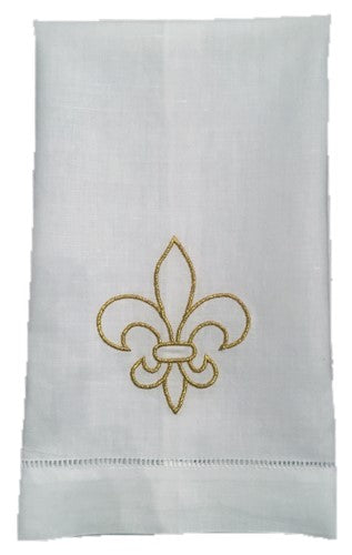 EMBROIDERED GOLD FLEUR de LIS LINEN HAND TOWEL