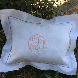 MONOGRAM PILLOW WITH INSERT FLORAL EMBROIDERED TRIM