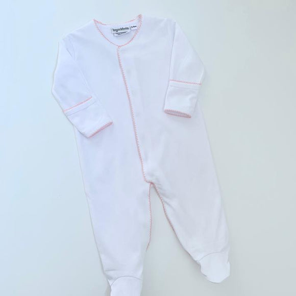 MONOGRAM LAYETTE FOOTIE WITH PICOT TRIM