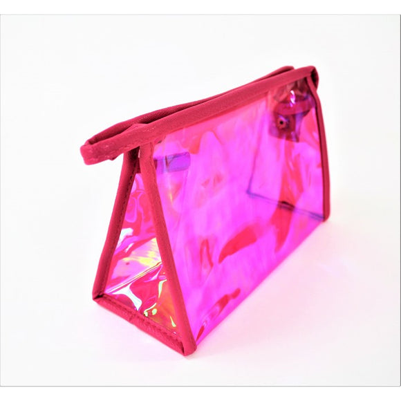 MONOGRAM FUSCHIA HOLOGRAPHIC MAKEUP BAG or POUCH