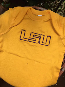 LSU EMBROIDERED GOLD ONESIE