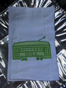 STREETCAR APPLIQUE EMBROIDERED BURP CLOTH GREEN