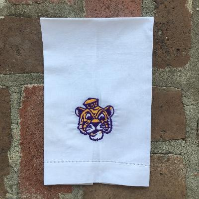 EMBROIDERED GUEST TOWEL LSU's MIKE THE TIGER