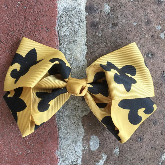 "SAINTS BLACK & GOLD FLEUR DE LIS 8"" HAIRBOW"