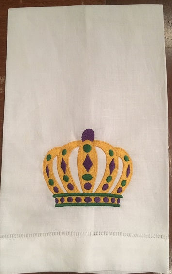 MARDI GRAS COLOR KINGS CROWN LINEN HANDTOWEL