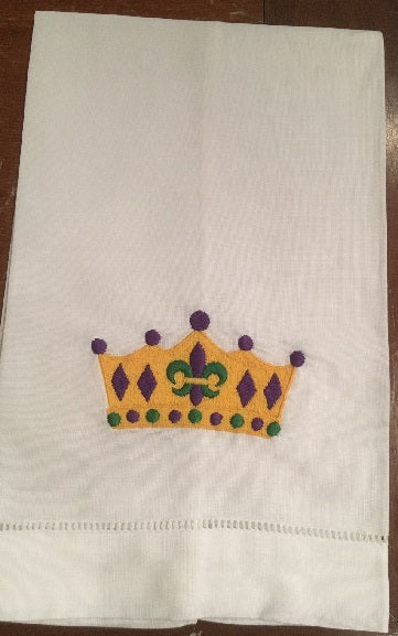 MARDI GRAS COLOR QUEENS CROWN LINEN HANDTOWEL