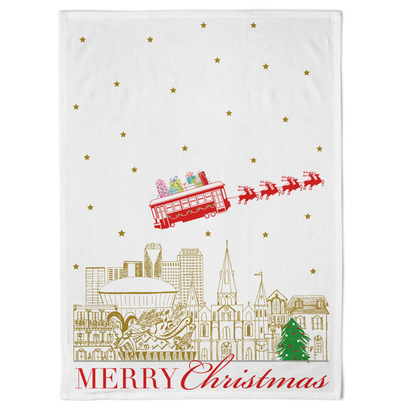 MERRY CHRISTMAS NEW ORLEANS KITCHEN TOWEL