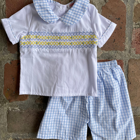 GEOMETRIC BOYS SMOCK SHORT SET