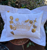 PIN-FAVOR PILLOW EMBROIDERED CROWN HEMSTITCH WITH FLANGE