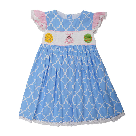 SMOCKED PRINT EASTER DRESS