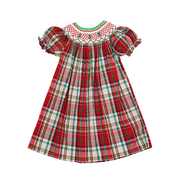 SMOCK CHRISTMAS PLAID DRESS
