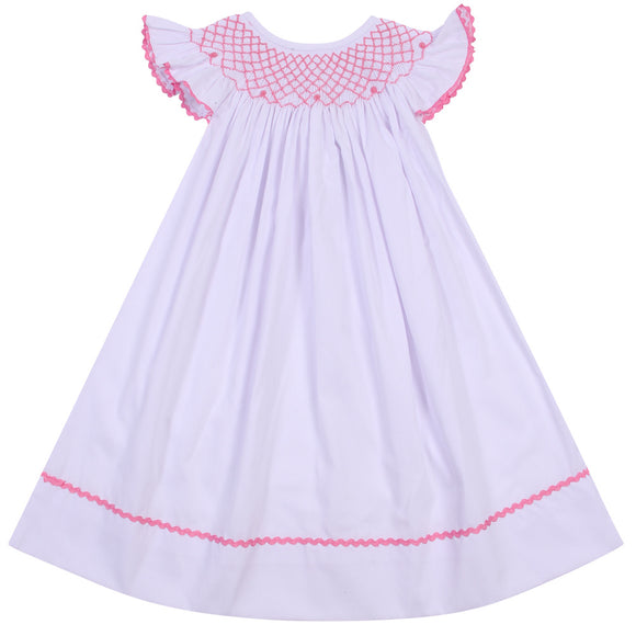 CLASSIC SMOCK BISHOP DRESS PINK TRIM