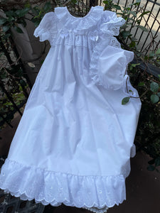 EYELET TRIM GOWN AND BONNET