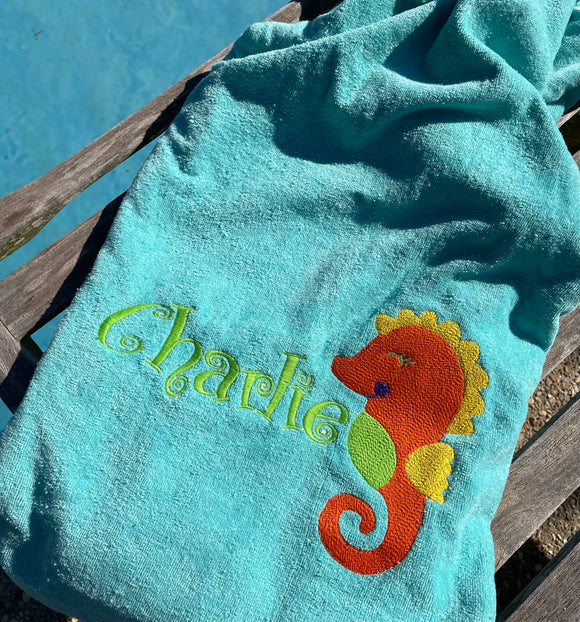 EMBROIDERED BEACH TOWEL SEAHORSE & NAME