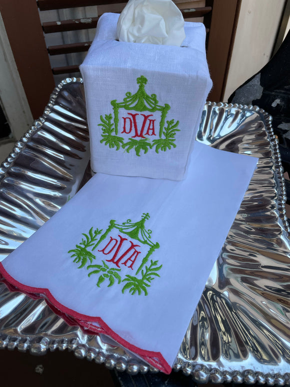 MONOGRAM LINEN SCALLOP EDGE GUEST TOWEL