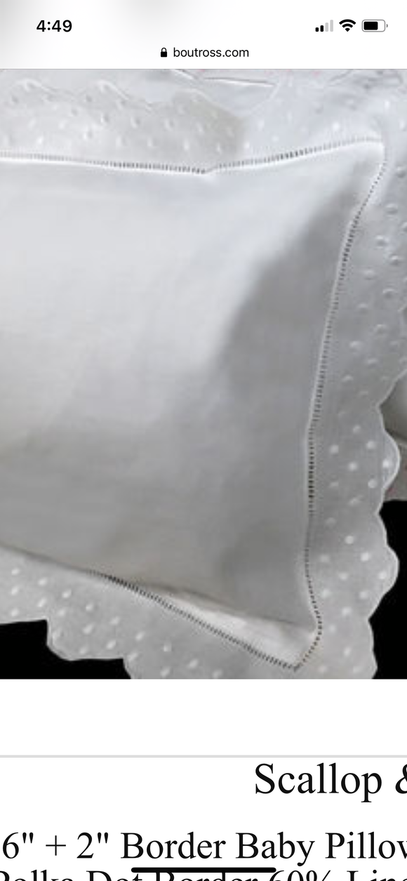 MONOGRAM PILLOW EMBROIDERED WHITE WITH SWISS DOT & SCALLOP FLANGE