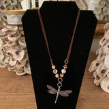NECKLACE BRUSH METAL DRAGONFLY