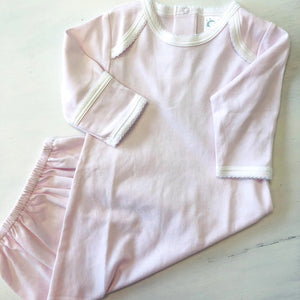 LAYETTE GOWN BLUSH PINK PICO TRIM by PATY