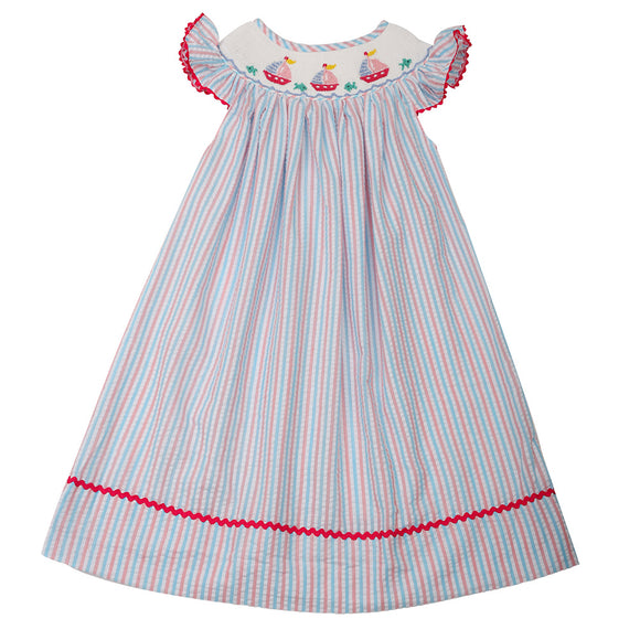 SAILBOAT SMOCKED BISHOP DOT DRESS