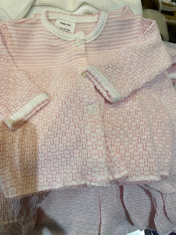 LAYETTE BOUCLE 2PC PINK SET by PATY