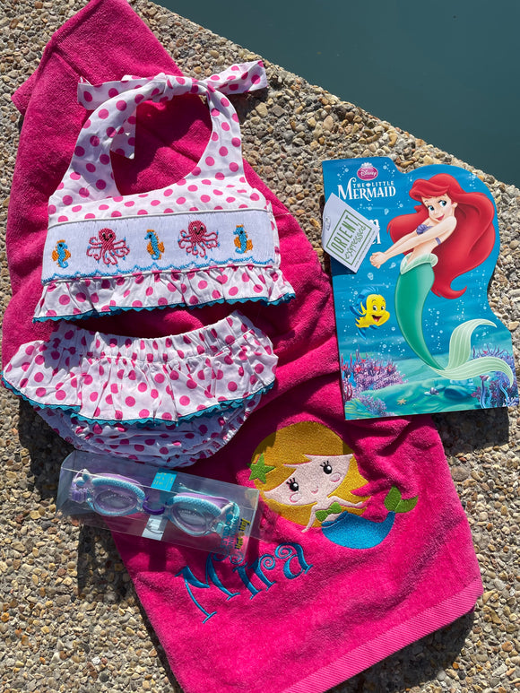 EMBROIDERED BEACH TOWEL MERMAID & NAME