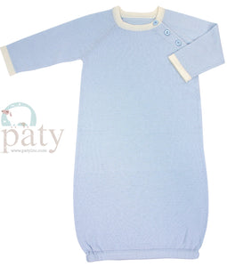 LAYETTE GOWN BLUE FINE GUAGE KNIT by PATY