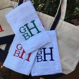 BURP CLOTH SET of 3 EMBROIDERED STACKED MONOGRAM