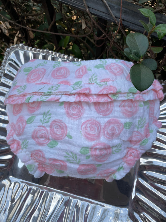 MUSLIN ROSE PRINT DIAPER COVER OR PANTY BY PATY