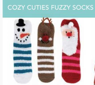 KIDS CHRISTMAS FUZZY SOCKS FROSTY
