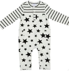 STAR PRINT (AND STRIPES) ROMPER WITH POCKETS