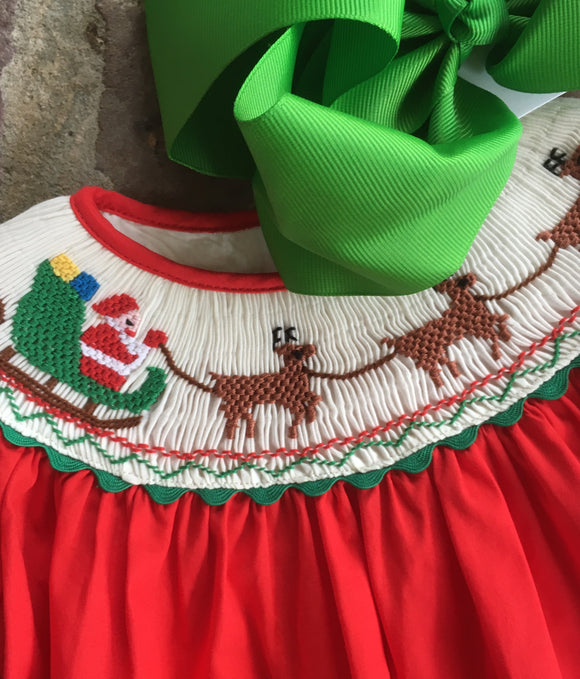 TODDLER SMOCK CHRISTMAS DRESS REINDEER