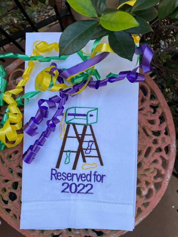 MARDI GRAS LADDER RESERVED FOR 2022 LINEN HANDTOWEL