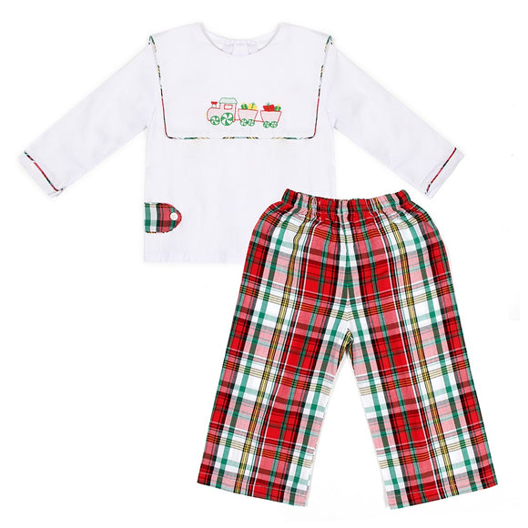CHRISTMAS EMBROIDERED PLAID 2PC SET