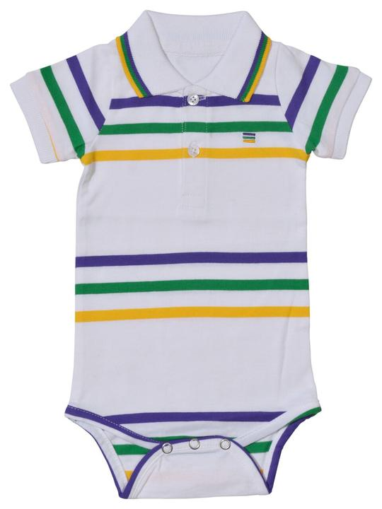 MARDI GRAS POLO ONESIE WHITE WITH PURPLE, GREEN, GOLD STRIPE