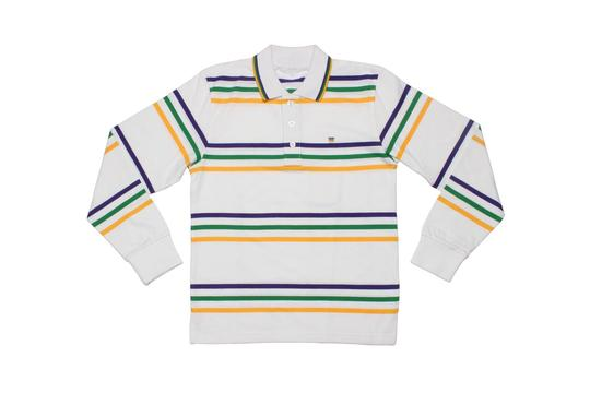 MARDI GRAS KIDS RUGBY WHITE WITH MULTI STRIPES