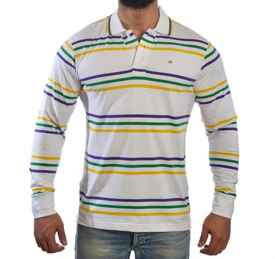 MARDI GRAS ADULT RUGBY WHITE WITH MULTI STRIPES