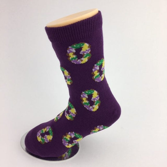 MARDI GRAS KING CAKE KIDS SOCKS