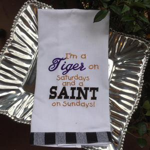 EMBROIDERED LSU & SAINTS KITCHEN TOWEL