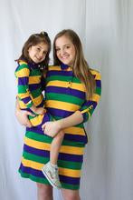 MARDI GRAS STRIPED PURPLE GREEN GOLD ALL OVER  RUGBY WOMEN'S DRESS