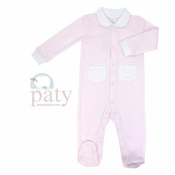 LAYETTE FOOTIE SNAP FRONT STRIPE PINK