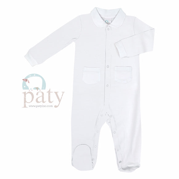 LAYETTE FOOTIE SNAP FRONT WHITE