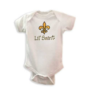 LIL' SAINT EMBROIDERED WHITE ONESIE