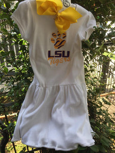 EMBROIDERED LSU KNIT GIRLS DRESS