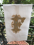 MONOGRAM EMBROIDERED GUEST TOWEL MAGAZINE FONT