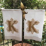 MONOGRAM LINEN GUEST OR HAND TOWEL WITH HEMSTITCH BORDER