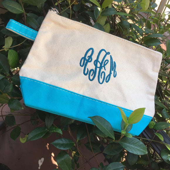 MONOGRAM CANVAS MAKEUP BAG or POUCH