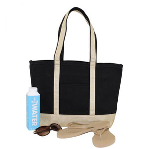 MONOGRAM METALLIC GOLD CANVAS MEDIUM BLACK TOTE BAG