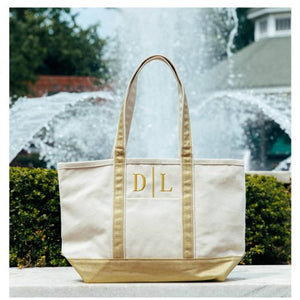 MONOGRAM METALLIC GOLD CANVAS MEDIUM NATURAL TOTE BAG